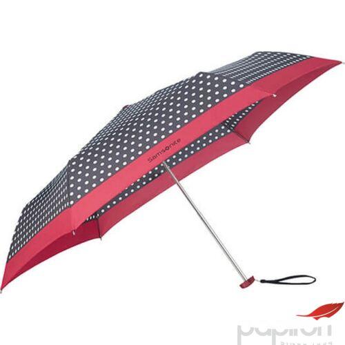 Samsonite esernyő Manual PATTERN / 3 sect. Manual FLAT pöttyös 108946/7192 - Black/White Dots/Rose Red