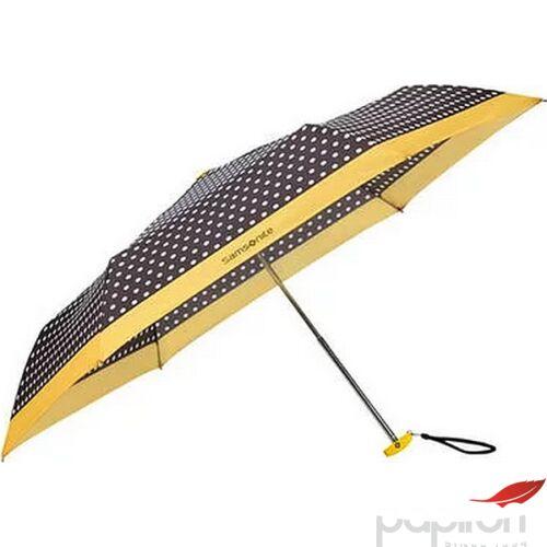 Samsonite esernyő Manual PATTERN / 3 sect. Manual FLAT pöttyös 108946/7191 -Black/White Dots/Old Yellow